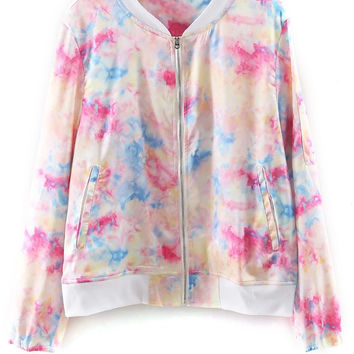 Tie Dye Print Stand Neck Long Sleeve  Jacket
