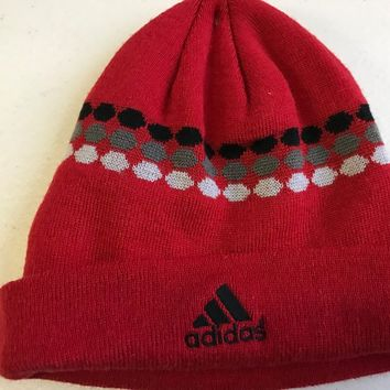 BRAND NEW MEN'S RED ADIDAS DOTTED KNIT HAT