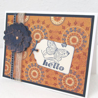Hello Card - Butterfly Card - Navy Blue and Vibrant Orange - Blank Card - Any Occasion - Rustic Flair - Navy Blue Flower - Copper Accents