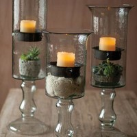Glass Candle Cylinder With Metal Insert & Glass Base - Small
