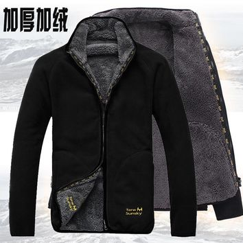 Outdoor cold resistance on both sides polar fleece pullover men's thickening and wool cardigan coat Jackets