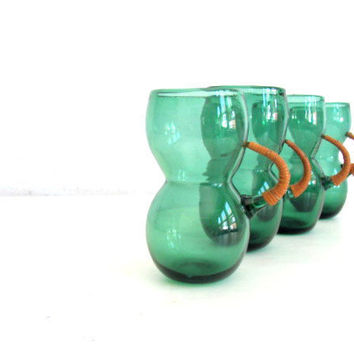 Vintage Mid Century Tumblers Glasses Modern Retro Green Hand Blown Glass SALE