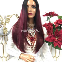 """Burgundy Red Ombre Half Wig 18"""" Acceptance 1118 45"""