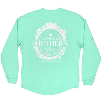 Rebecca Long Sleeve Southern Class Jersey in Bimini Green with Pink Seersucker Pocket by Southern Marsh
