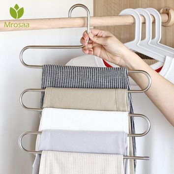 S Type Pants Trousers Hanger Multi Layers Stainless Steel Clothing Towel Storage Rack Closet Space Saver