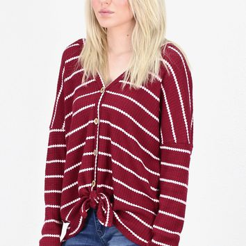 Must Have Striped Thermal Button +Tie Front L/S {Burgundy}