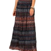 Global Mixed Print Maxi Skirt