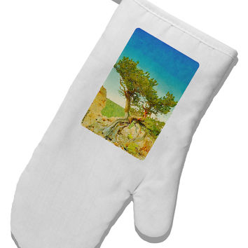 Colorado Tree Watercolor White Printed Fabric Oven Mitt