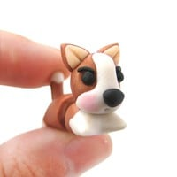 Handmade Puppy Dog Animal Fake Gauge Polymer Clay Stud Earring in Brown and White