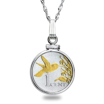 Trinidad Cent Hummingbird Sterling Silver Necklace