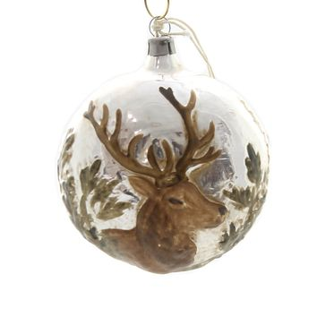 Marolin STAG HEAD VINTAGE LOOKING Glass Ornament Feather Tree Germany 2011037