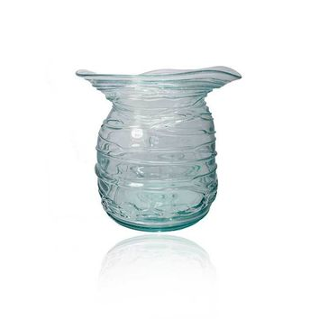 Whimsical Clear Green Vase - Hand Blown Glassware from Bali Artisan