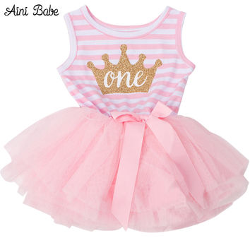 Summer 2017 Baby Girls Baptism Clothes Tutu Dress Gold Elsa Crown One Two Little Girl Dress For Baby Girl 1 Year Birthday Dress