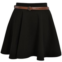 Women's News Belted Skater Flared Jersey Plain Mini Party Dress Skirt