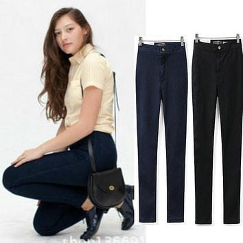 New Womens Vintage Brand Skinny High Waist Jeans XS-XL Lady Sexy Stretch Denim Pencil Pants Slim Easy Trousers Hot Drop Shipping
