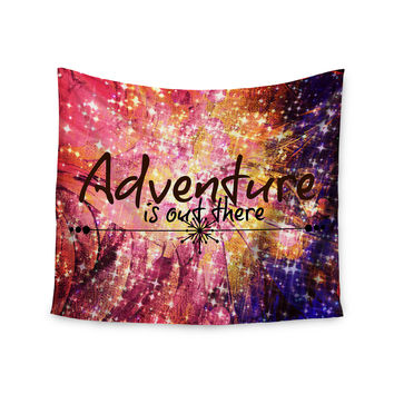 "Ebi Emporium ""Adventure is Out There"" Pink Typography Wall Tapestry"