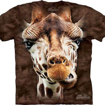The Mountain Giraffe Face Adult T-Shirt PRINT IN USA MT74
