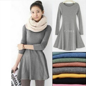 Fashion Clothes Vestidos Women Dress 2016 Spring Autumn Winter Dress Female 100% Cotton O-Neck Long Sleeve Dress Woolen Dresses