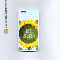 Sunflower hello sunshine quote for iphone case 4/4S - iphone case 5/5S -Galaxy S4 - chevron case-Design by Natura Picta-NP054