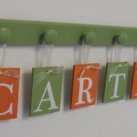 Green and Orange Nursery Decor Baby Boy Room Wall Decor Name for CARTER - 6 Wooden Hooks