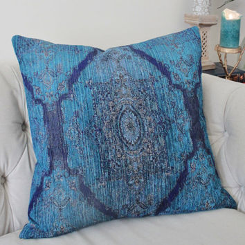 Bohemian Pillow Cover - Dark Turquoise - Persian Medallion Throw - Teal Blue Moroccan Pillow - Decorative Blue Turquoise - Motif Pillows