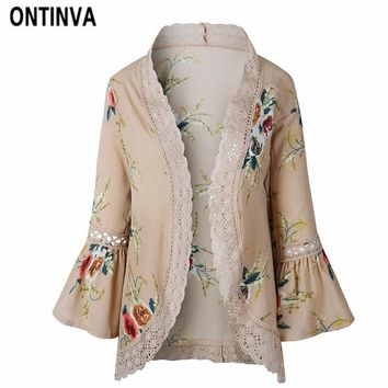 Trendy Flare Sleeve Crochet Lace Chiffon Jackets Women Summer Lace Patchwork Kimono Cardigan Floral Print Front Open Outwear Coat 2018 AT_94_13