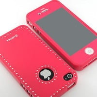 GnJ Pink swarovski case cover+Pink film home button for iPhone 4 4S 4G
