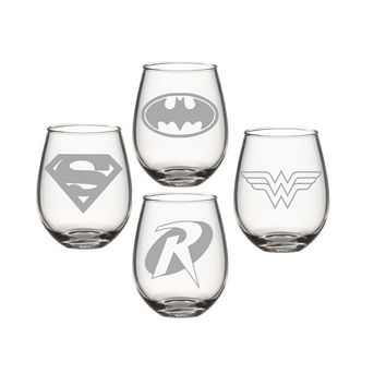D.C Super Hero Wine Glass Set, Wonder Women Super Man Bat Man Robin Wine Glass, Etched Wine Glass - Super Hero Wine Glass