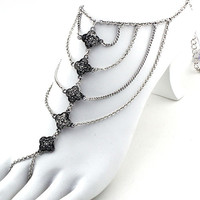 Lotus Draped Foot Chain (1 Chain) - Silver