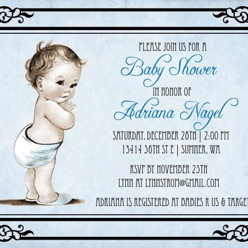 Vintage Boy Baby Shower Invitation