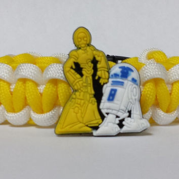 R2D2 Bracelet, 3CPO Bracelet, Star Wars Jewelry, Star Wars Robots, Yellow and White Bracelet, Custom Bracelet. 26 Colors to choose from