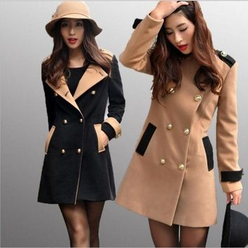 ONETOW New Women Winter Double-Breasted Wool Coat Faux Fur Trench Parka Jacket Outwear = 1929782660