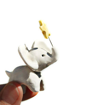 Mini Elephant holding Yellow Star / Figurine / Ceramic Sculpture / Gift Ideas