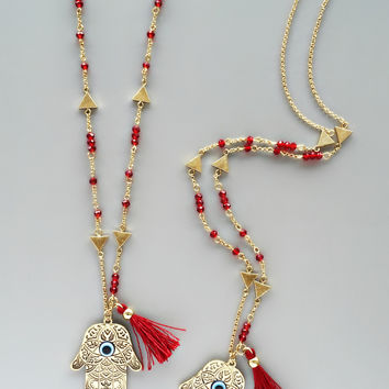 Red Casablanca Hamsa Necklace