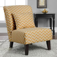 Anna French Yellow Chevron Fabric Accent Chair
