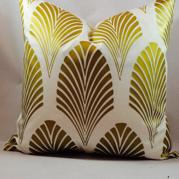Metallic gold Art Deco 1920's fan pattern on white slipcover