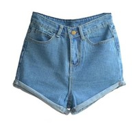Juniors's Denim Vintage Retro High Waist Jeans Short