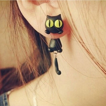 H made Polymer Clay Cute Cat Cotton Animal Stud Earrings Ear Stud Jewelry Brincos  SM6