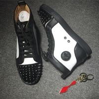 Cl Christian Louboutin Lou Spikes Style #2204 Sneakers Fashion Shoes - Best Deal Online