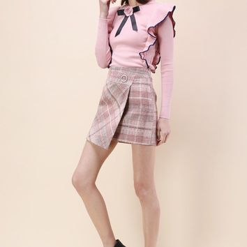 Tender Tartan Tweed Flap Skirt in Pink