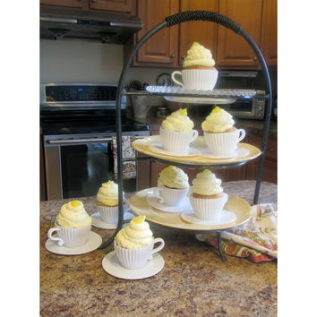 Evelots 8 Silicone Piece Afternoon Tea Cupcakes Set, Baking Supplies, White