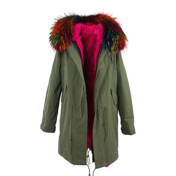 Large raccoon fur collar hooded long coat parkas