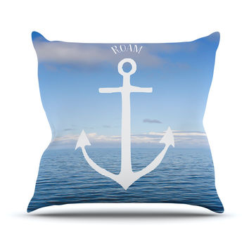 "Ann Barnes ""Roam III"" Anchor Outdoor Throw Pillow"