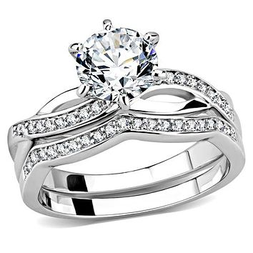 A Perfect 1.4CT Round Cut Russian Lab Diamond Engagement Bridal Set Ring