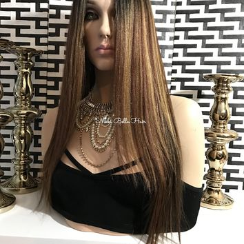 Mixed blond Balayage Human Hair Blend Multi Parting lace front wig - Priscilla