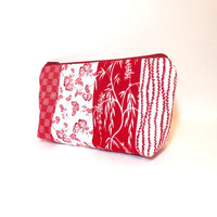 Fabric Pouch Zipper Pouch Cosmetic Bag Make Up Bag Toiletry Bag Red Asian Print