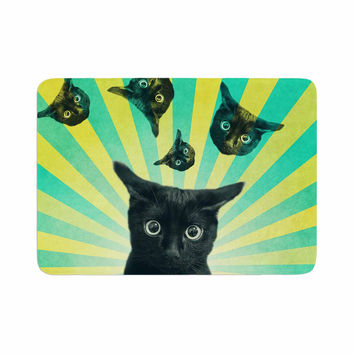 "Cvetelina Todorova ""Cat Explosion"" Yellow Green Memory Foam Bath Mat"