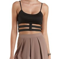 Black Stretchy Caged Crop Top by Charlotte Russe