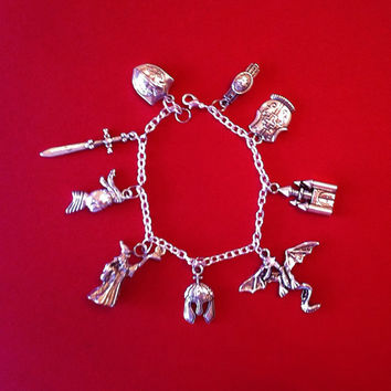 Medieval Knights Charm Bracelet, Merlin, King Authur, Dragon, Sword, Castle, Legends