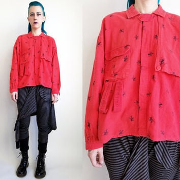 90s Clothing Flannel Shirt Red Button Down Shirt Unique Flannel Shirt Horse Jockey Print Beverly Hills Polo Club Mens Size Medium